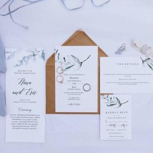Modern floral wedding invites