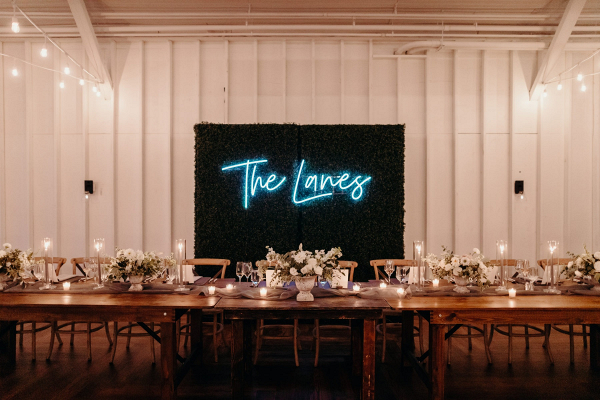 Neon wedding reception signage