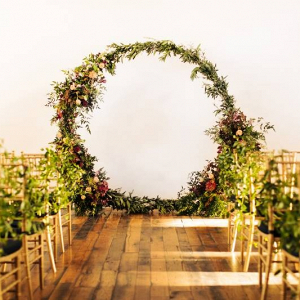 Floral moon gate ceremony backdrop