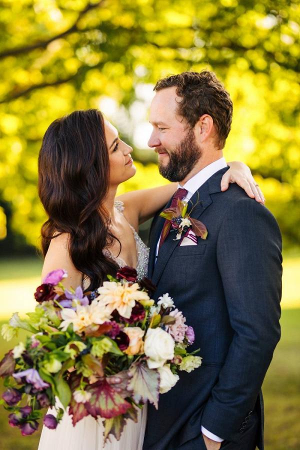Purple wedding portrait