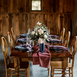 Jewel tone farm wedding tablescape