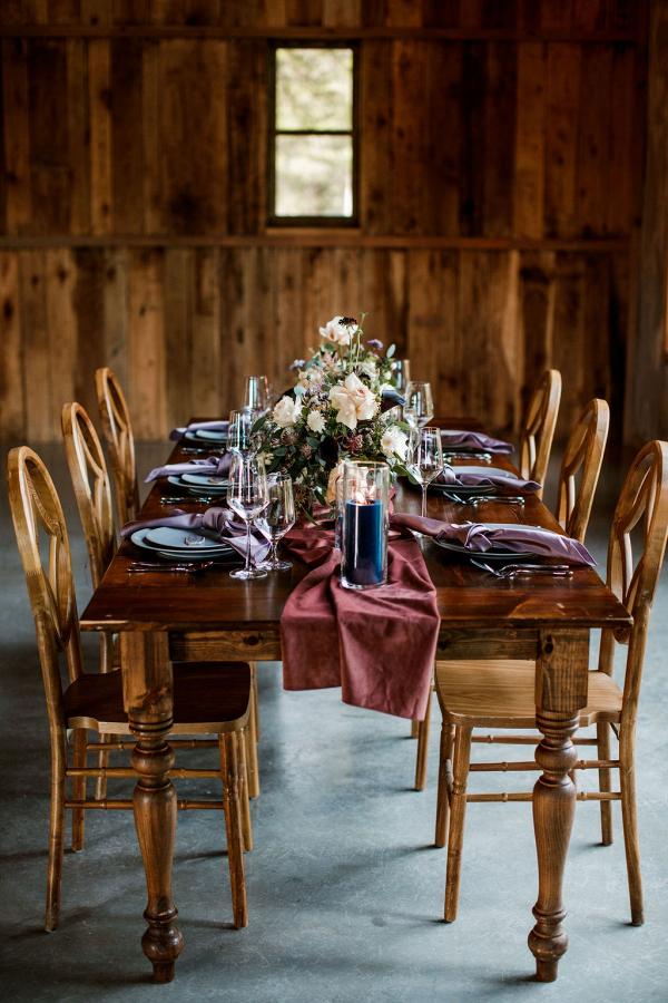 Jewel tone farm wedding tablescape