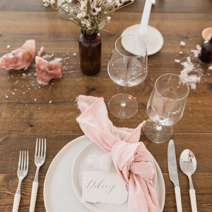 Pink organic wedding tablescape