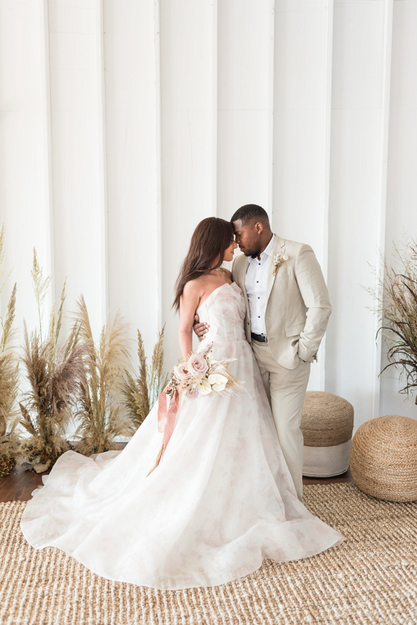 Watercolor blush wedding dress