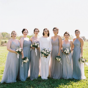 Bridesmaids in mismatched tulle gray dresses