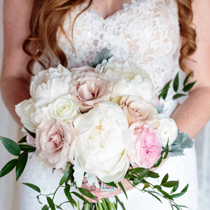 White and blush peony bouquet