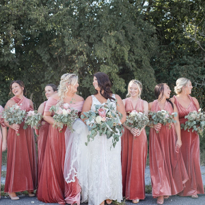 Velvet wrap bridesmaid dresses