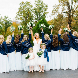 Bridesmaids in jean jackets