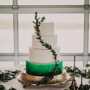 Painted green wedding cake