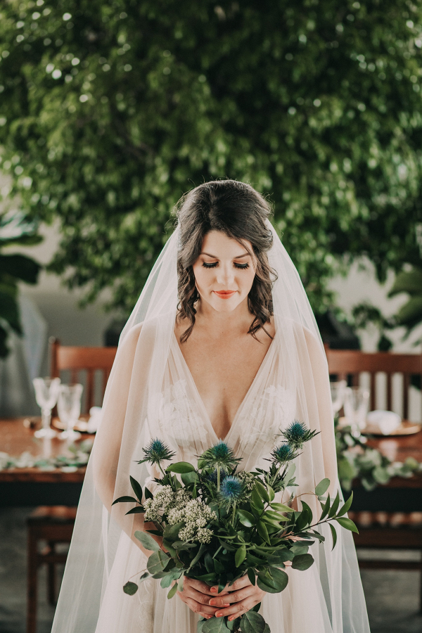 Greenery and thistle bridal bouquet
