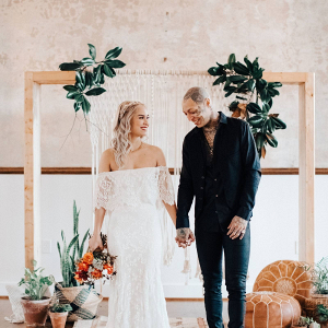 Boho macrame ceremony backdrop