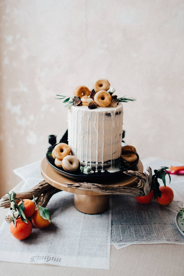 Drip cake with doughnut topper