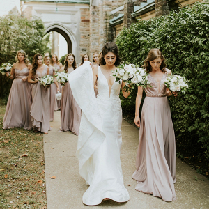 Mismatched long mauve bridesmaid dresses