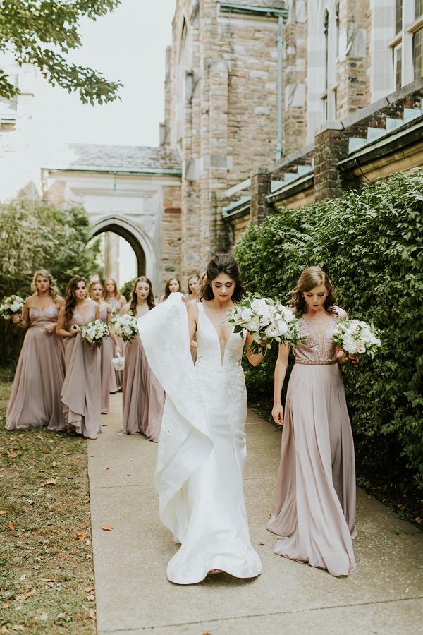 Mismatched long mauve bridesmaid dresses