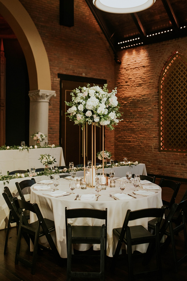 Classic white, black, and gold wedding reception