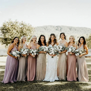 Blush and champagne mismatched bridesmaid dresses