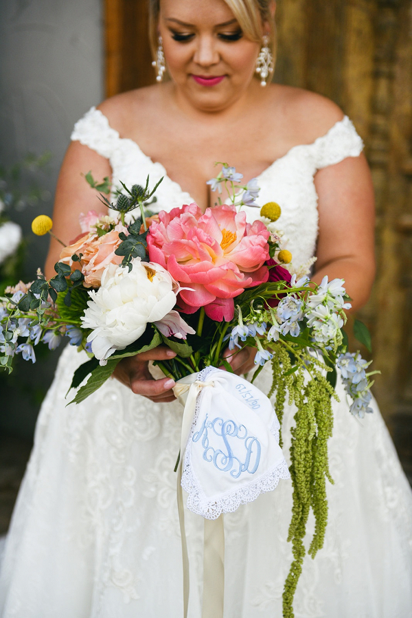 Bouquet wrapped in monogram hankie