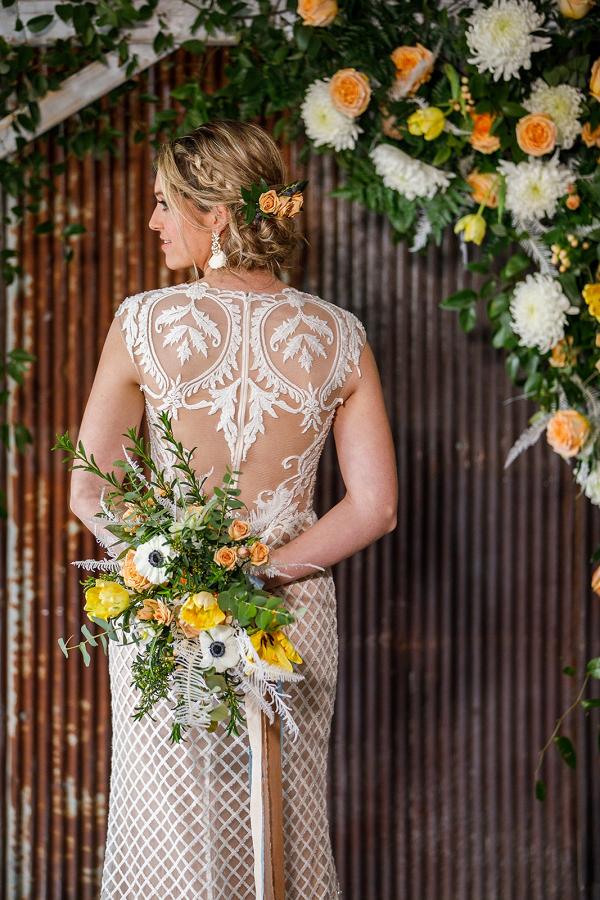 Illusion lace back wedding dress