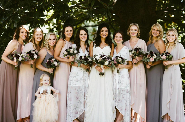 Mistmatched bridal party