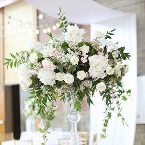 Tall white and blush wedding centerpiece