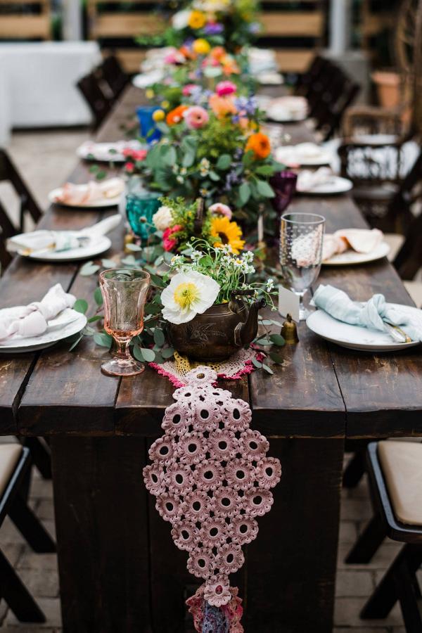 Colorful DIY wedding centerpieces