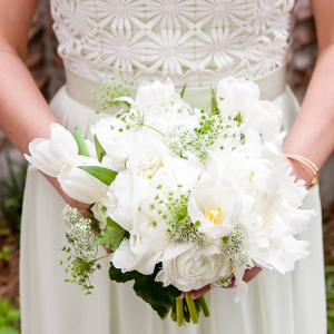 White tulip bridesmaid bouquet