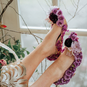 Purple flower wedding shoes