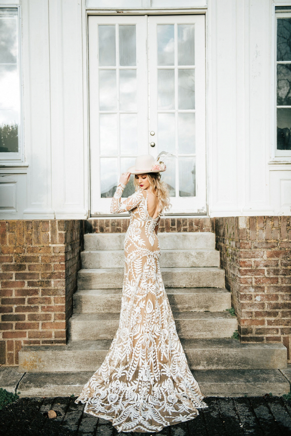 Boho bride in long lace gown