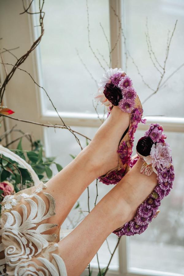 Purple flower wedding shoes