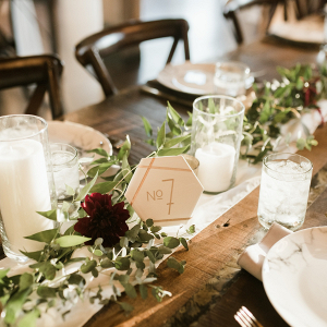 Farm table with marble table numbers