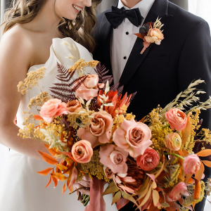 Blush and rust bridal bouquet