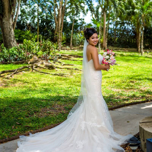 Destination bride in strapless dress