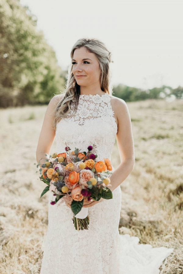 Bride with orange bouquet