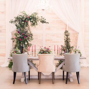 Romantic barn wedding tablescape