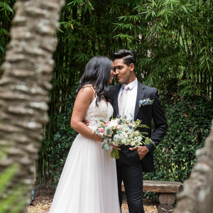 Bride and groom in garden at Club lake plantation