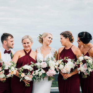 Maroon bridal party on Paper & Lace
