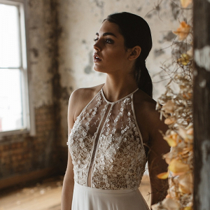 Floral embellished wedding dress