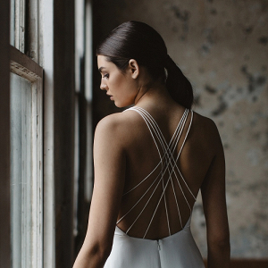 Cross back wedding dress