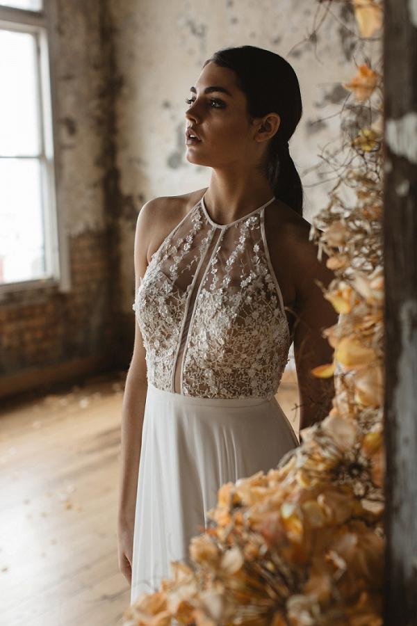 Floral embellished wedding dress