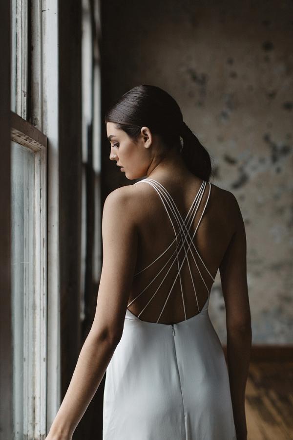 Cross back wedding dress