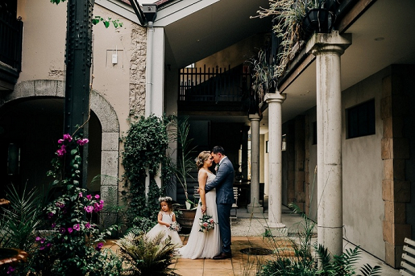 Couple in courtyard