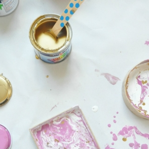 Spoon and Paints To Create Your Own Marble Ring Bowl