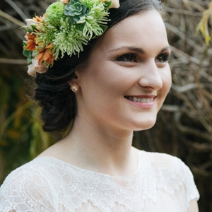 Bride With Green And Orange Flowers