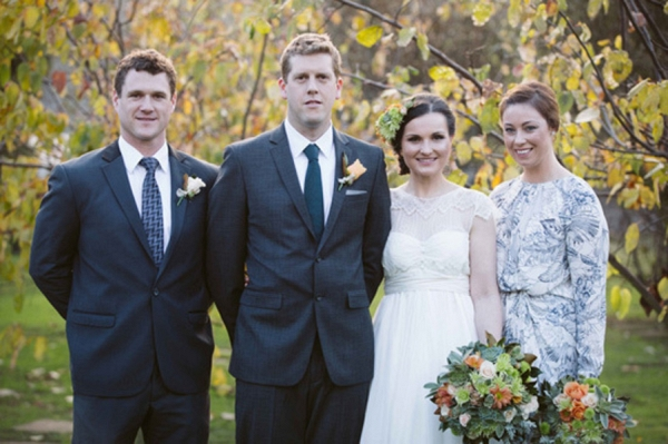 Bridal Party With Fall Leaves