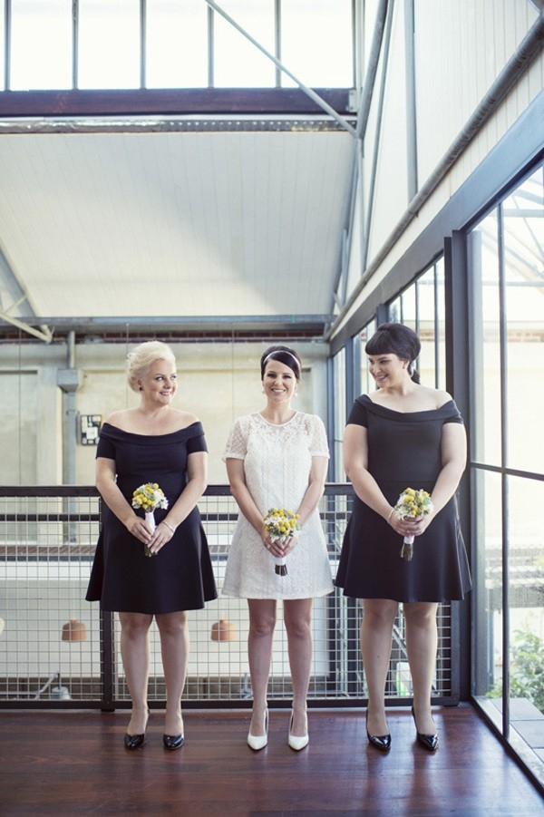 Bride with the Bridesmaids In Sixties Style