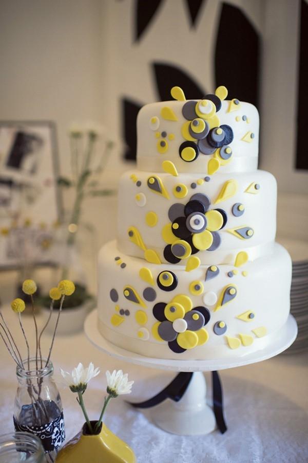 Grey & Yellow Wedding Cake