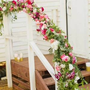 Floral Garland On Stair Rail