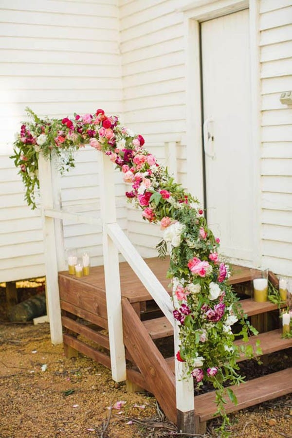 Floral Garland On Stair Rail