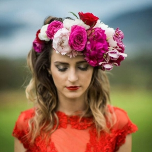 Bride In Red Dress With Pink Flower Crown