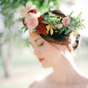 Bride With Peach And Red Flower Crown